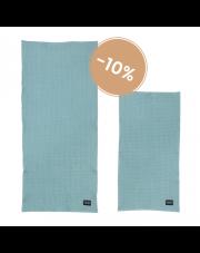Komplet dwóch organicznych ręczników - niebieski - ferm LIVING