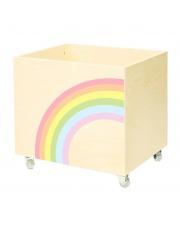 Drewniana skrzynia na zabawki TĘCZA - NOBOBOBO