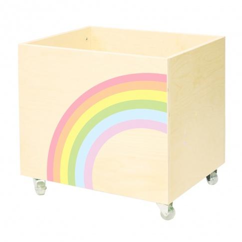 Fotografia, na której jest Drewniana skrzynia na zabawki TĘCZA - NOBOBOBO