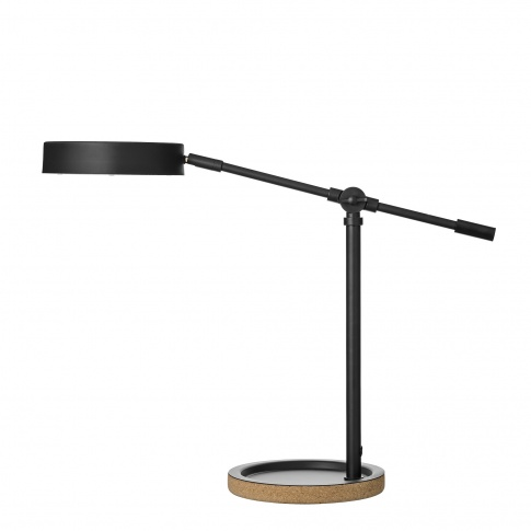 Fotografia, na której jest Lampa stołowa skandynawska z drewnianą podstawą – Woody