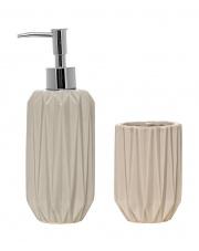 Dozownik do mydła + kubek łazienkowy jasny szary - Bloomingville