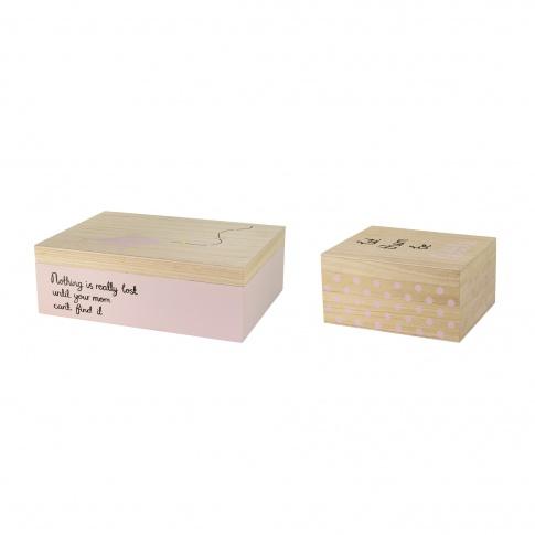Fotografia, na której jest Zestaw dwóch różowych pudełek - Bloomingville - WADA