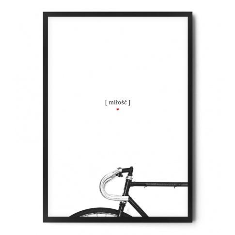 Fotografia, na której jest Plakat MIŁOŚĆ / ROWER biały - FOX ART STUDIO