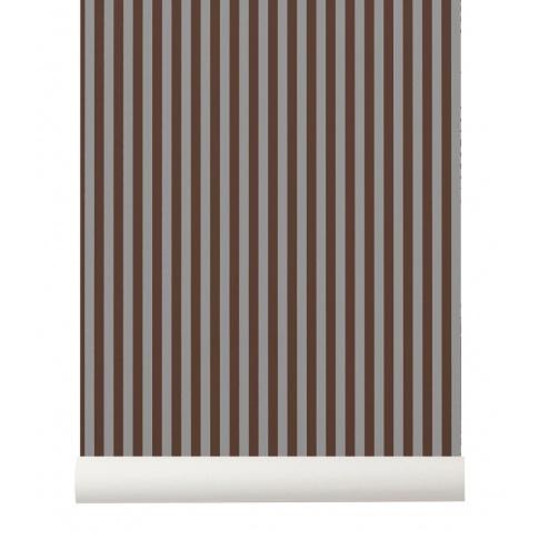 Fotografia, na której jest Tapeta skandynawska THIN LINES Bordeaux/Grey - ferm LIVING