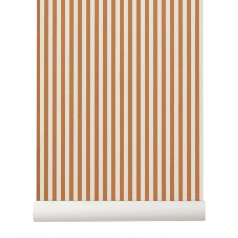 Fotografia, na której jest Tapeta skandynawska THIN LINES Mustard/Off White - ferm LIVING