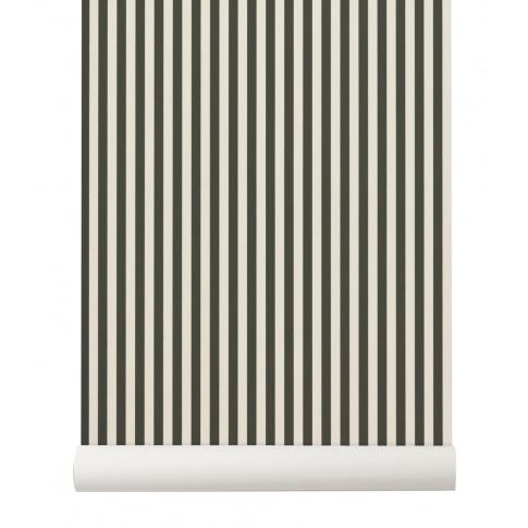 Fotografia, na której jest Tapeta skandynawska THIN LINES Green/Off White - ferm LIVING