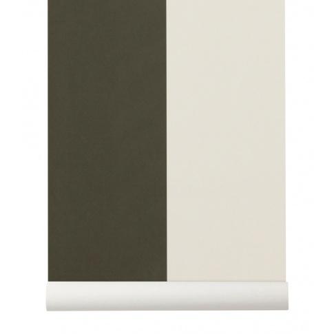 Fotografia, na której jest Tapeta skandynawska THICK LINES Green/Off White - ferm LIVING