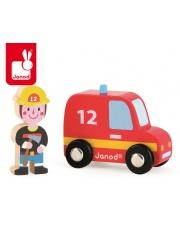 Wóz strażacki ze strażakiem zestaw drewniany - JANOD