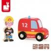Fotografia, na której jest Wóz strażacki ze strażakiem zestaw drewniany - JANOD