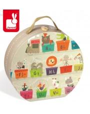 Puzzle w walizce Alfabet pociąg 27 elementów - JANOD