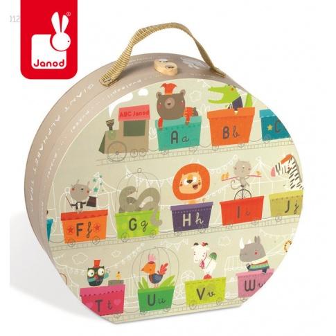 Fotografia, na której jest Puzzle w walizce Alfabet pociąg 27 elementów - JANOD
