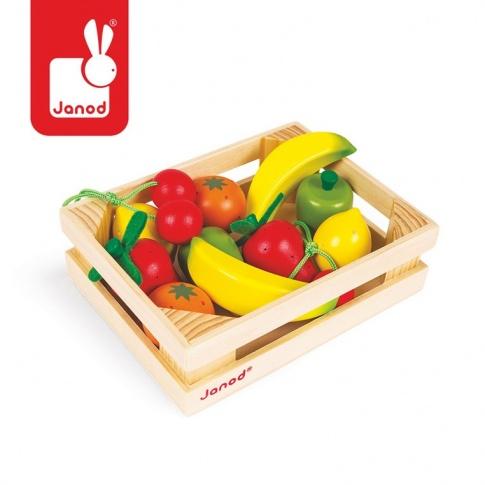 Fotografia, na której jest Owoce drewniane 12 szt. w skrzyneczce - JANOD