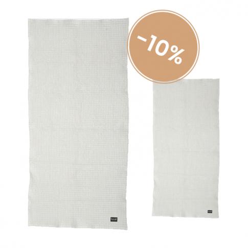 Fotografia, na której jest Komplet dwóch organicznych ręczników - jasny szary - ferm LIVING