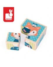Klocki drewniane Puzzle 6w1 Las - JANOD