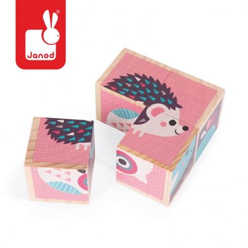 Fotografia, na której jest Klocki drewniane Puzzle 6w1 Zwierzątka - JANOD