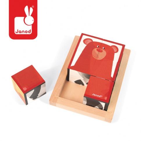 Fotografia, na której jest Klocki drewniane 6 elementów puzzle Baby Forest - JANOD