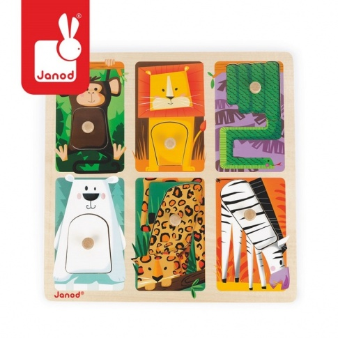 Fotografia, na której jest Puzzle sensoryczne drewniane