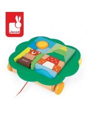 Wózeczek do ciągnięcia z klockami Baby Forest - JANOD