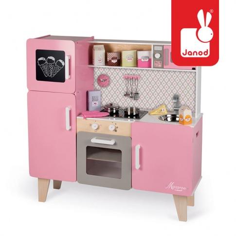 Fotografia, na której jest Kuchnia drewniana XL z dźwiękiem i 15 akcesoriami Macaron - JANOD