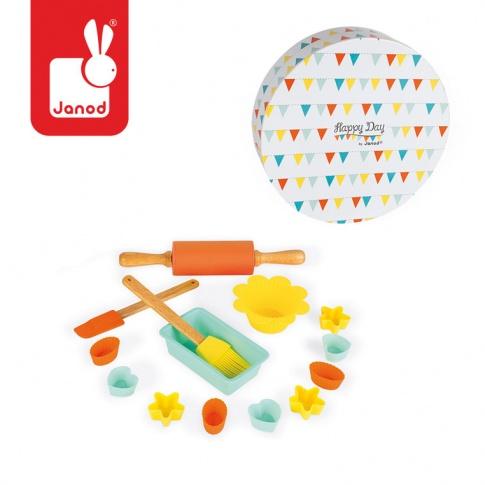 Fotografia, na której jest Zestaw do pieczenia ciasteczek 14 elementów Happy Day - JANOD