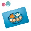 Fotografia, na której jest EZPZ Silikonowy talerzyk z podkładką 2w1 Happy Mat niebieski