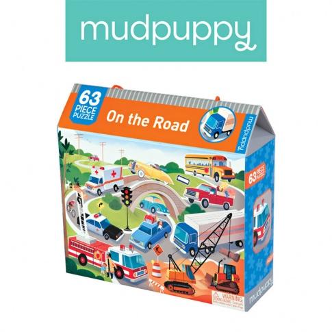 Fotografia, na której jest Mudpuppy Puzzle  Na drodze 63 elementy 4+