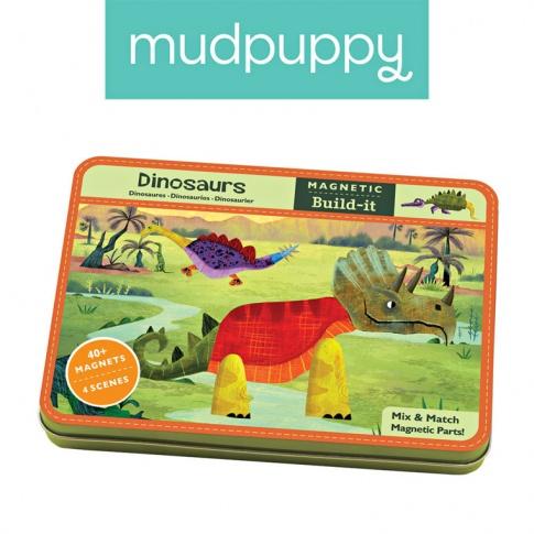 Fotografia, na której jest Mudpuppy Magnetyczne konstrukcje Dinozaury 6+