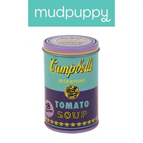 Fotografia, na której jest Mudpuppy Kredki świecowe Andy Warhol 18 sztuk w fioletowej puszce