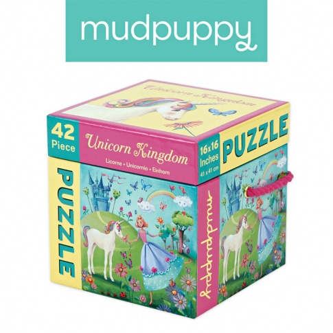 Fotografia, na której jest Mudpuppy Puzzle Królestwo Jednorożca 42 elementy 3+