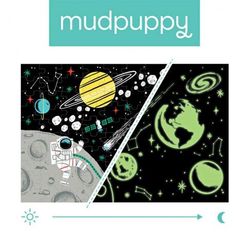 Fotografia, na której jest Mudpuppy Puzzle świecące w ciemności Kosmos 100 elementów 5+