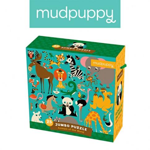 Fotografia, na której jest Mudpuppy Puzzle podłogowe Jumbo Zwierzęta Świata 25 elementów 2+