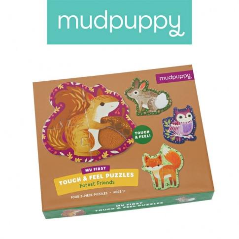 Fotografia, na której jest Mudpuppy Puzzle sensoryczne Leśne zwierzęta 1+