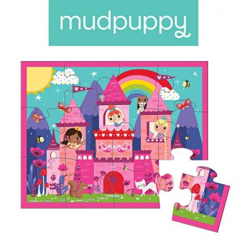 Fotografia, na której jest Mudpuppy Puzzle w saszetce Zamek księżniczki 12 elementów 2+