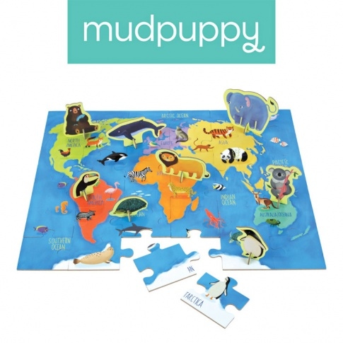 Fotografia, na której jest Mudpuppy Puzzle zestaw z 8 figurkami Zwierzęta Świata 3+