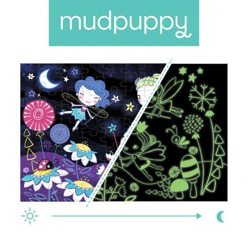 Fotografia, na której jest Mudpuppy Puzzle świecące w ciemności Wróżki 100 elementów 5+