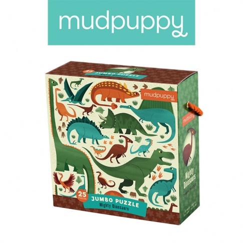 Fotografia, na której jest Mudpuppy Puzzle podłogowe Jumbo Potężne dinozaury 25 elementów 2+