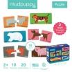 Fotografia, na której jest Mudpuppy Dwujęzyczne puzzle ze zwierzątkami do nauki pierwszych słów Angielski/Hiszpański 2+