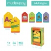 Fotografia, na której jest Mudpuppy Karty do nauki alfabetu i literek Fiszki Zwierzęta 1+