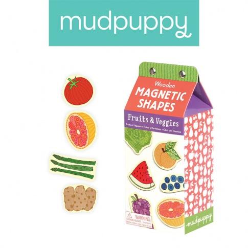 Fotografia, na której jest Mudpuppy Zestaw drewnianych magnesów Owoce i warzywa 35 elementów