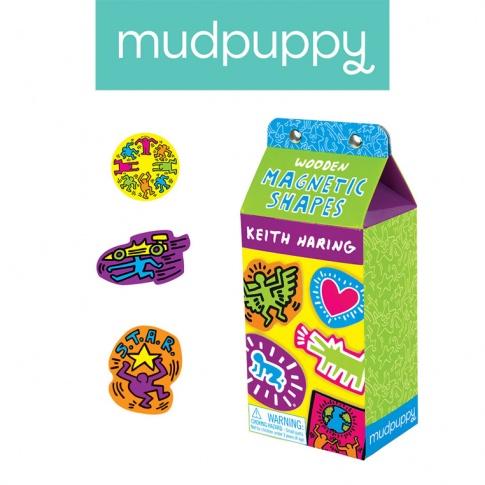 Fotografia, na której jest Mudpuppy Zestaw drewnianych magnesów Keith Haring 35 elementów