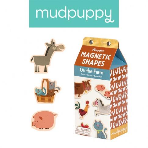 Fotografia, na której jest Mudpuppy Zestaw drewnianych magnesów Na farmie 40 elementów