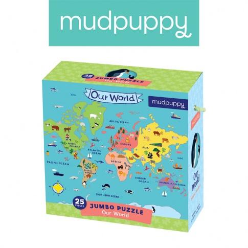 Fotografia, na której jest Mudpuppy Puzzle podłogowe Jumbo Nasz Świat 25 elementów 2+