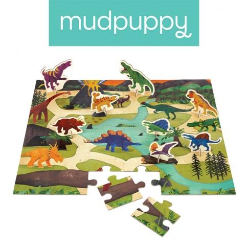 Fotografia, na której jest Mudpuppy Puzzle zestaw z 8 figurkami Dinozaury 3+