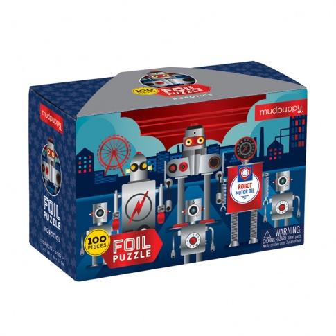 Fotografia, na której jest Mudpuppy Puzzle z błyszczącą folią Roboty 100 elementów 5+