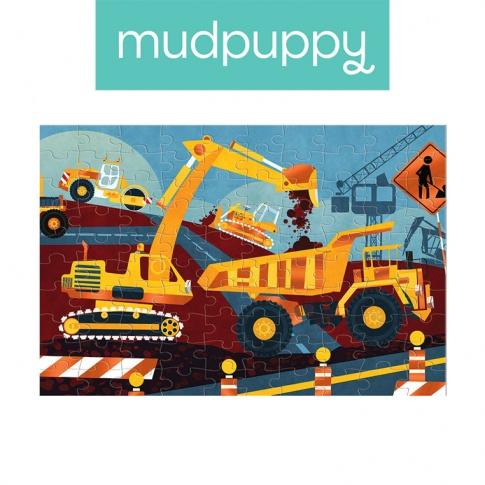 Fotografia, na której jest Mudpuppy Puzzle z błyszczącą folią Budowa 100 elementów 5+