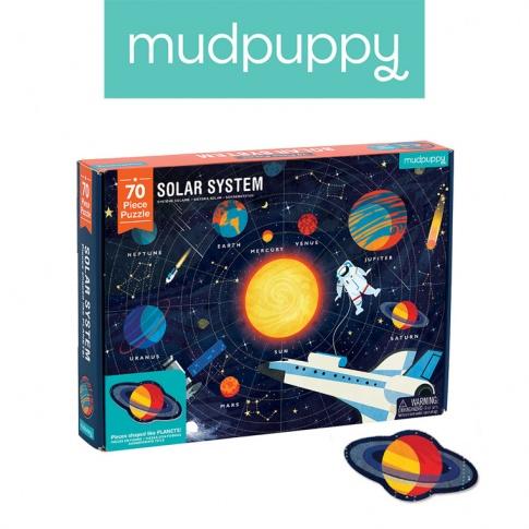 Fotografia, na której jest Mudpuppy Puzzle Układ Słoneczny z elementami w kształcie planet 5+