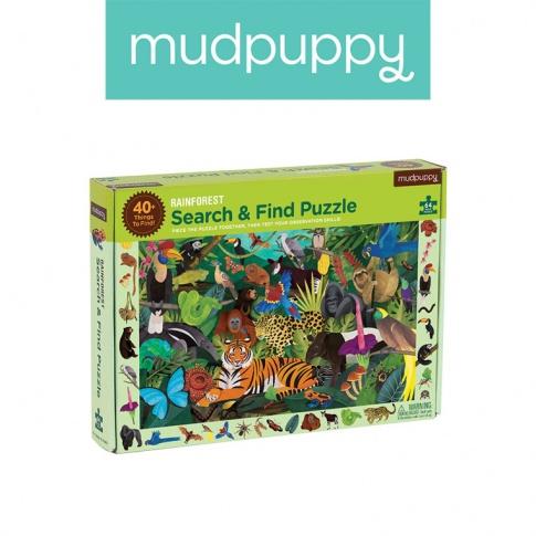 Fotografia, na której jest Mudpuppy Puzzle szukaj i znajdź Las tropikalny 64 elementy 4+