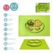 Fotografia, na której jest EZPZ Silikonowy talerzyk z podkładką 2w1 Happy Mat zielony