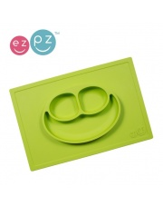EZPZ Silikonowy talerzyk z podkładką 2w1 Happy Mat zielony