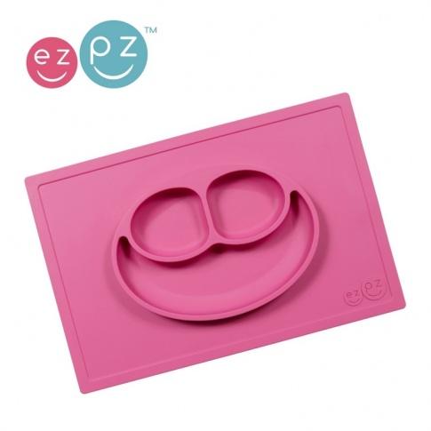 Fotografia, na której jest EZPZ Silikonowy talerzyk z podkładką 2w1 Happy Mat różowy